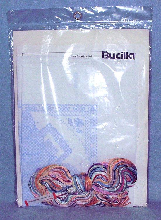 "Bucilla Playful Pals #40488 Stamped Cross Stitch Kit 16"" x 8"" 1990 NIP"