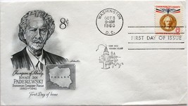 Oct. 8, 1960 First Day of Issue, Artmaster Cover, 8c Ignace Jan Paderews... - $2.38