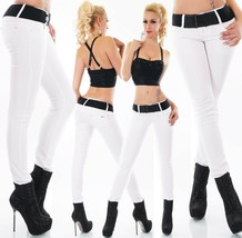 Women's skinny fit Jeans mid rise slim stretch Trousers White with Belt UK 6-14 - $33.90