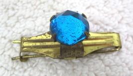 Vintage Hair Barrette w Bright Blue Rhinestone Ring  Gold Metal M9 - $14.36