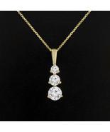 Past Present Future 3-Stone Martini Necklace Pendant Chain 1.0Ct 14K Yel... - $208.41