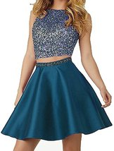 Beaded Two Piece Homecoming Dresses Satin Prom Gowns Pockets Cocktail Dr... - $129.00