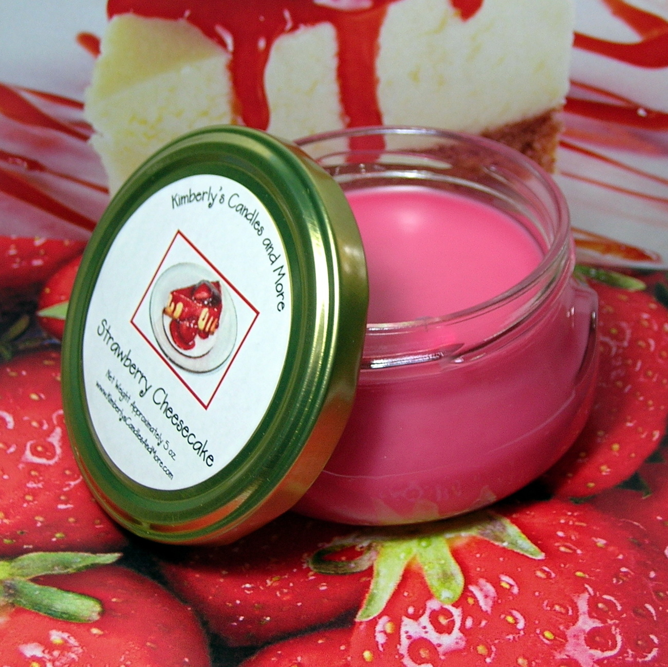 Strawberry Cheesecake 6 oz. Tureen Jar Wickless Candle