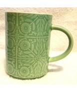 STARBUCKS Coffee Cup Mug GREEN EMBOSSED FLOWERS 12 Ounce - $12.95