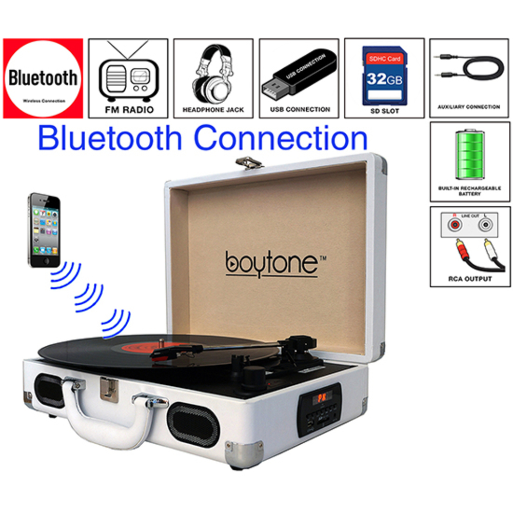 Boytone BT-101WT Bluetooth Turntable Briefcase Record player AC-DC, Built in Rec