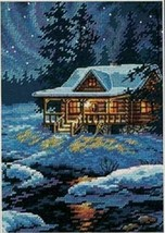Dimensions Moonlit Cabin Cross Stitch Kit Darrell Bush Northern Light Snow 65007 - $37.21