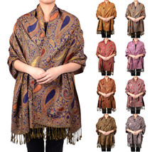 Paisley Floral Pashmina Thick Scarf Wrap Shawl Classic Gold Silver Tear ... - $11.45