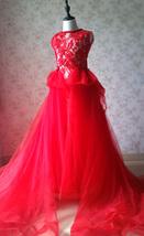 Pageant Red Lace Tutu High Waist Flower Girl Dress 2-Way Girl Birthday Dress NWT image 2