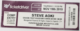 Steve Aoki Nov 19 2015 Hakkasan Nightclub MGM Grand CompTicket Stub  - $3.95