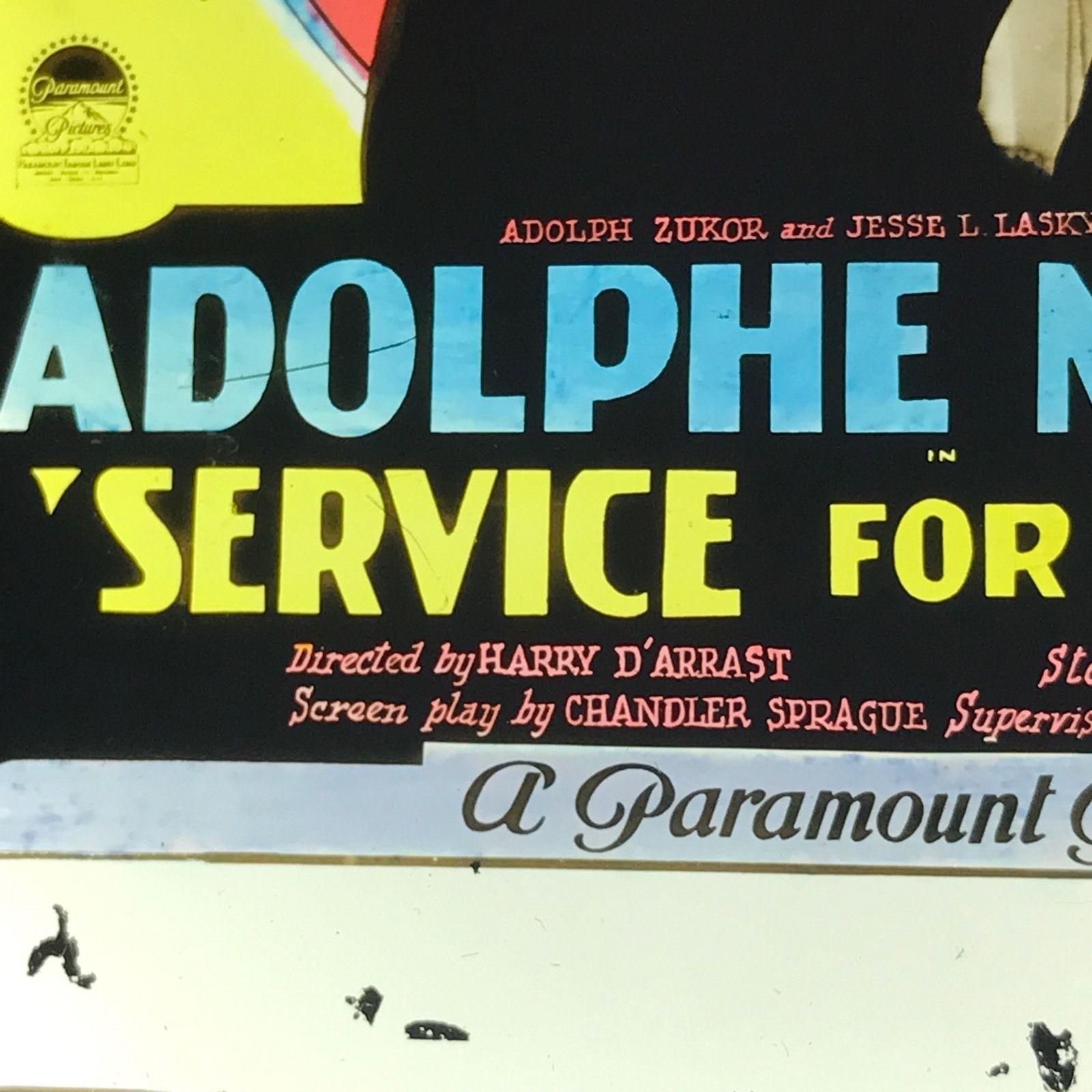 Vtg Magic Lantern Glass Movie Slide Adolphe Menjou Service For Ladies Paramount