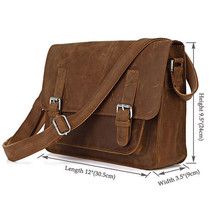 Men Genuine Crazy Horse Leather Cowhide Vintage Crossbody Shoulder Messe... - $73.59