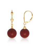 14K Yellow Gold 6mm-10mm Red Coral Ball Dangle Earrings Leverback - $70.20 - $110.32