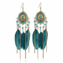 Long Feather Drop Earrings For Women Tassel Chain Hook Closure Alloy Acr... - $7.91