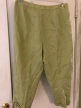 TALBOTS Womens Sz 14 Green Irish Linen Capri Cropped Pants Flat Front Lined - $15.89
