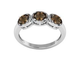 Artisian Created Cairngorm Called Smoky Quartz Three Stone Ring, 925 Silver - $19.12