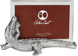 Arthur Court Designs Aluminum Alligator Photo Picture Frame Holds 4x6 - £63.56 GBP