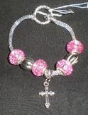 New Charming Cross Charm European  Beads Chain Bangle Bracelet
