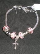 New Charm Cross Christian Catholic Crusifix European Beads Chain  Bracelet