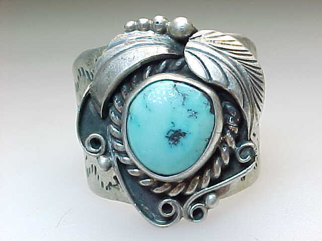Primary image for NAVAJO SILVERSMITH C MANNING Vintage Turquoise Ring in Sterling Silver - Size 13