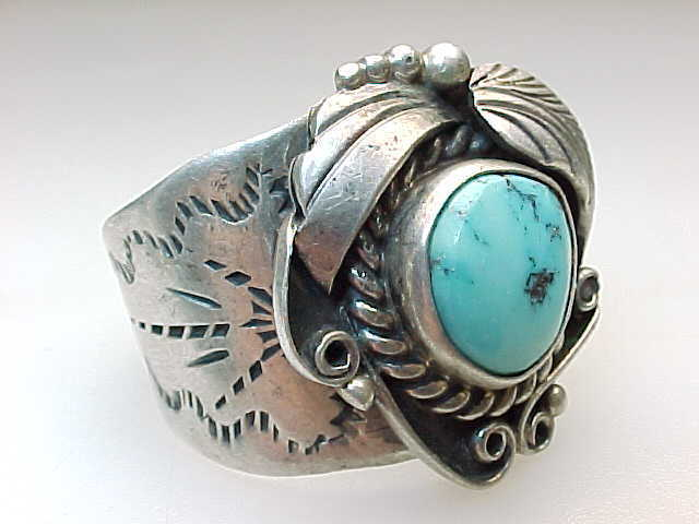 NAVAJO SILVERSMITH C MANNING Vintage Turquoise Ring in Sterling Silver - Size 13