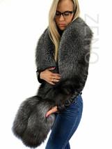Silver Fox Fur Stole 63' (160cm) Saga Furs Collar Tails / Wristbands / H... - $225.00