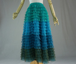 Multi-Color Tiered Tulle Skirt A-line Layered Tulle Midi Skirt Party Outfit image 2