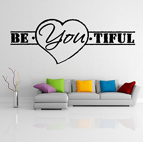 ( 63'' x 23'') Vinyl Wall Decal Quote Be*You*tiful with Heart Shape/ Inspiration - $44.76
