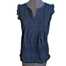 Tommy Hilfiger Tank Top Shirt Sz M Navy Blue Eyelet Cotton Pintuck Summe... - $19.79