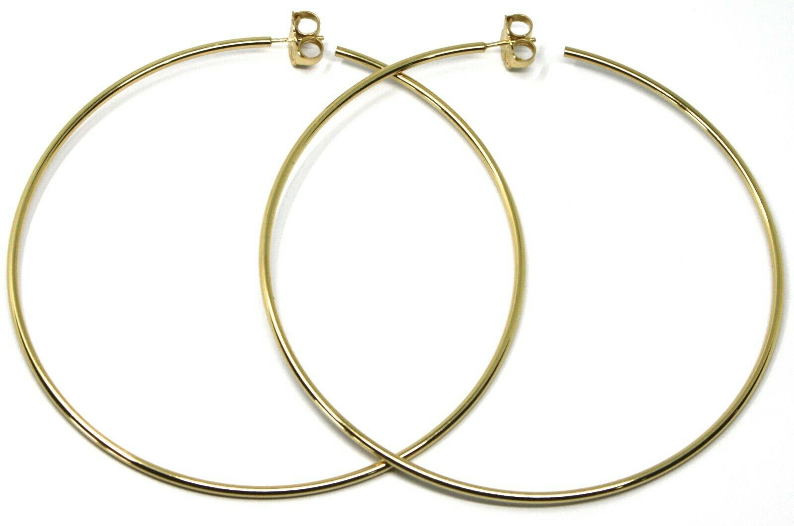 925 STERLING SILVER CIRCLE HOOPS BIG EARRINGS, 9.5cm x 2mm YELLOW SMOOTH