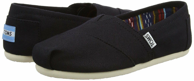 Nuevo Toms Mujer Clásico Negro de Tela sin Cordones Zapatos Planos NWOB