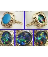 Antique Art Deco Opal & Persian Turquoise 10k Gold Cocktail Flip Reversi... - $886.05