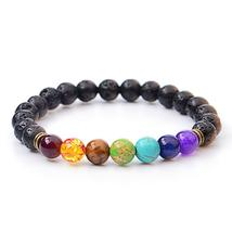 Natural Lava Stone Rainbow Bead Charm Bracelets - $35.00