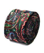 Frederick Thomas nere e multicolore motivo cachemire lana LINO CRAVATTA ... - $24.36