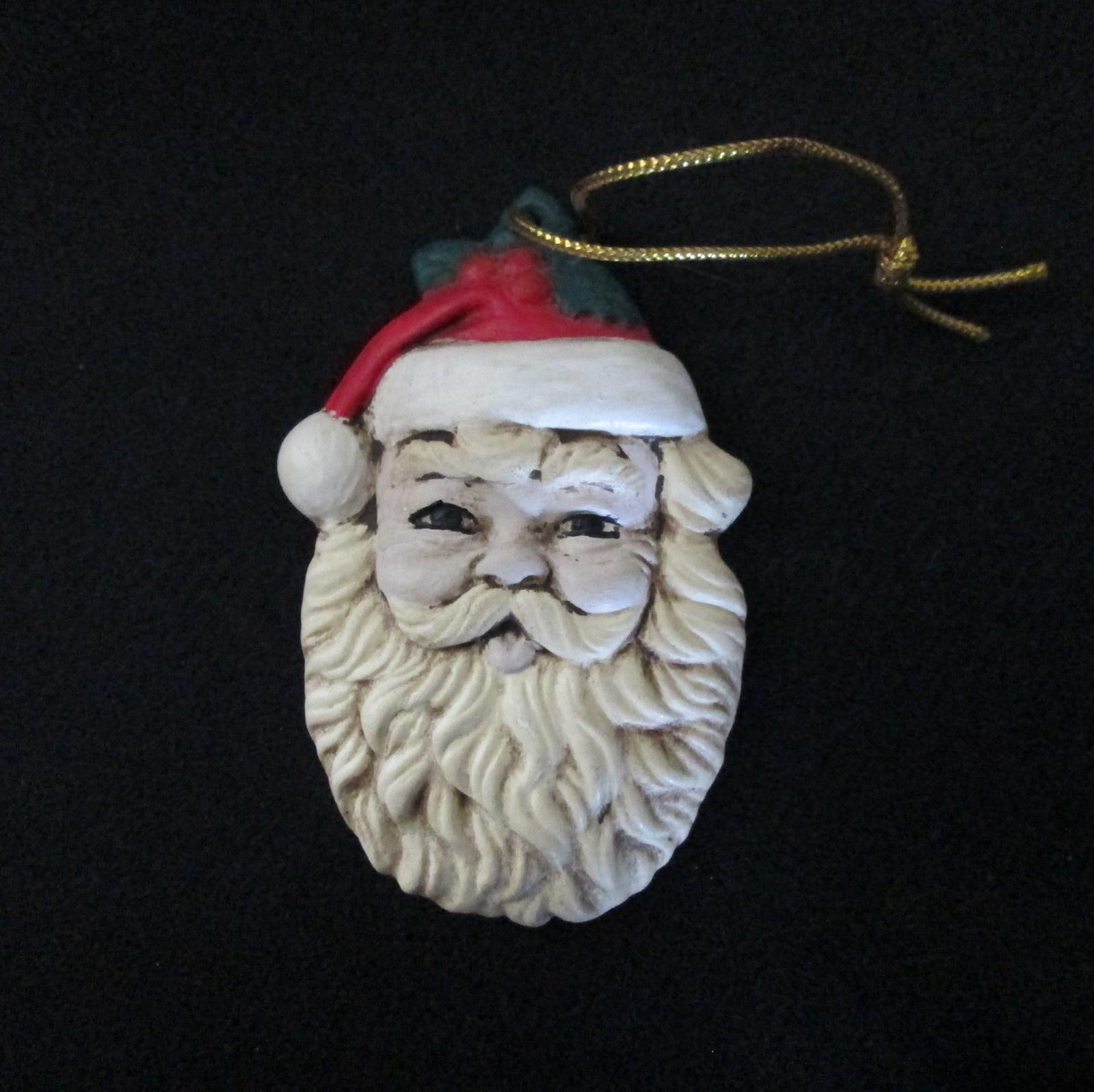 Hand painted santa claus head ceramic christmas tree