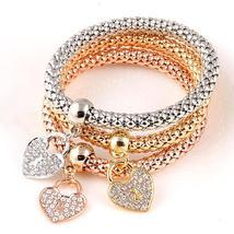 3 PC/Set Crystal Butterful Bracelet&Bangle (2), Fashion Round Charm Pendant 17K - $10.89