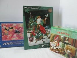 3 Jigsaw Puzzles 1,000 Pc. Jelly Beans, Santa & Teapots (3) - $23.76