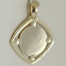 Pendant Medal Yellow Gold 375 9K, Mary Jane Jesus, Rhombus, Satin, Made in Italy image 3