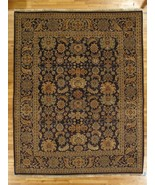 8 x 10 Navy Blue Traditional Purple Accent Floral Oriental Jaipur Wool Rug - $904.87