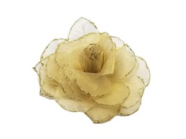 1 pc gold wire like netting  gold glitter edge flower Corsages 5x5  with... - $3.91