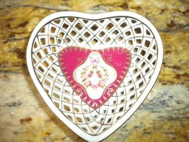 Lefton Small Heart Shaped White Pink Trinket Dish Basket Weave with Gold... - $9.90