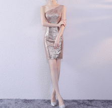 Rose Gold One Shoulder Short Sequin Dress Wedding Bridesmaid Short Sequin Dress image 8