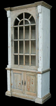 French Country Farmhouse Storage Tall Cabinet Distressed Chalk White Finish - €1.162,38 EUR