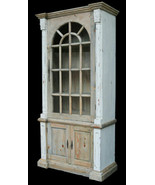 French Country Farmhouse Storage Tall Cabinet Distressed Chalk White Finish - $1,260.03