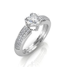 14K White Gold 0.68Ct Heart And Round Cut Diamond Engagement promise Ring  - $1,078.31