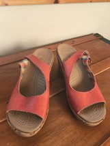 Gently Used Crocs Women's Coral Leather Sling Back High Heeled Wedge Sandals   - $15.79