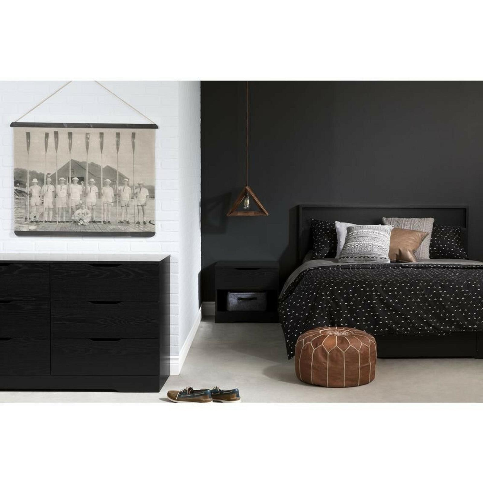 Dresser Storage Cabinet 6 Drawer Black Space Saver Bedroom Durable Furniture