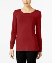 Alfani Long-Sleeve Ruched Top Banner Red XL - $13.97