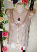 Gypsy Boho Chiffon Lace Trimmed Beige Top Zip Up Miso Size 12 - $29.03