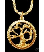 SALE Gold Plated Family Tree of Life Pendant Celtic wicca - $26.66