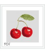 Cross Stitch Pattern Pair of Cherries, Cherry Cross Stitch Chart, PDF Download - $2.92